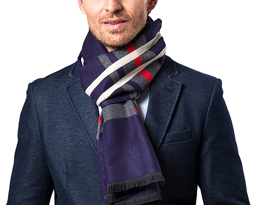 D-Sun Mens New Style Striped plaid Cashmere Wool Warm Scarf for Christmas Gift