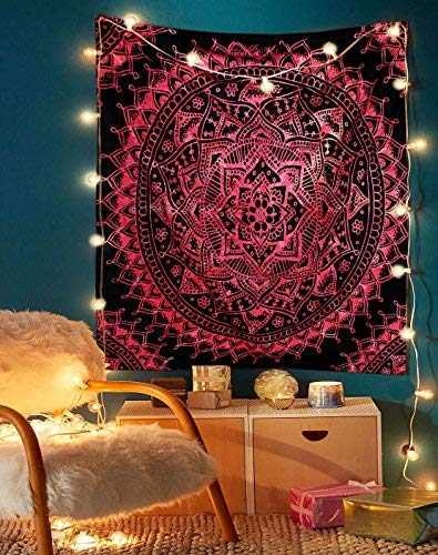 The Indian Craft Blak and Pink Tapestry, Psychedelic Mandala Wall Hanging, Tie Dye Hippie Tapestries, Boho Bohemian Round Table Cloth Cover, Gypsy Cotton Home Decor Art