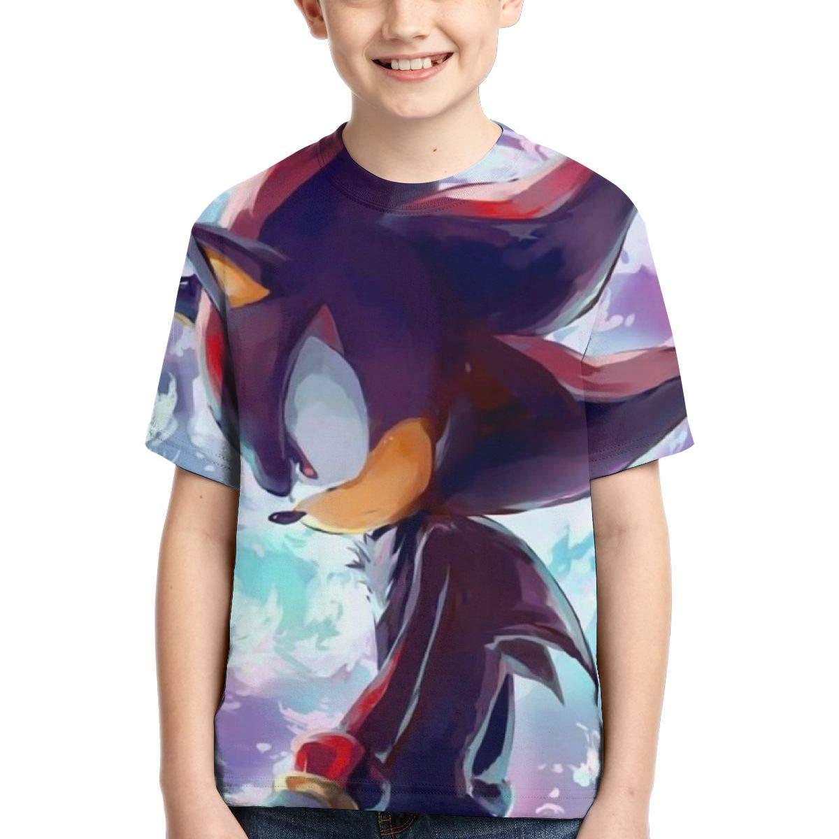 Hatstng Shadow The Hedgehog Sonic Boys Girls 3D Print Crew Tee Youth Short Sleeve T-Shirt Tanks Tops