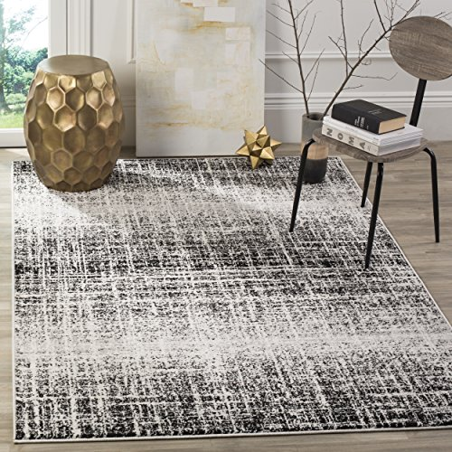 White Silver Stripe - Safavieh Adirondack Collection ADR116B Ivory and Silver Modern Abstract Area Rug (8' x 10')
