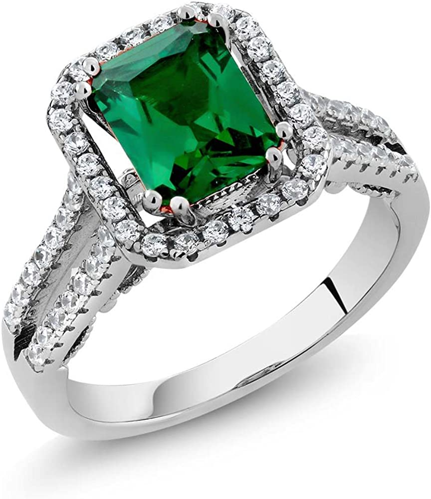 Gem Stone King 925 Sterling Silver Green Simulated Emerald Women's Wedding Engagement Ring 2.78 Ct Emerald Cut Available 5,6,7,8,9
