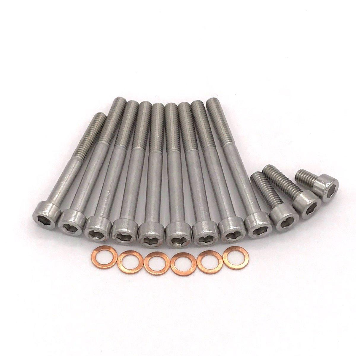 MZ ETZ 150 Motor Zylinderschrauben mit Innensechskant aus Edelstahl V2A, inkl. Ö lkontrollschraube und Kupfer Dichtungen, 18 teilig Schrauben-Hupe