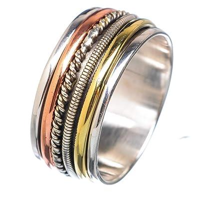 Natural Green Amethyst 925 Sterling Silver Meditation All UK Size Spinner Ring
