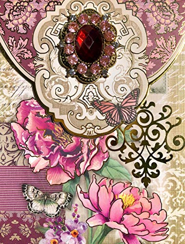 Punch Studio Brooch & Gold Foil Embellished Notepad ~ Pink Peony Butterfly 63328