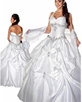 Zhu Li Ya Women's White Taffeta Halter Ball Gown Quinceanera Wedding Dresses