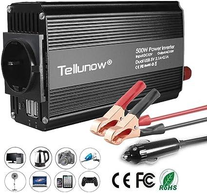 Inversor de Corriente para autom/óvil DC 12V a CA 220V con 2 Puertos USB de Carga 1000W 500W Salida de CA Inversor de energ/ía de Onda sinusoidal 300W