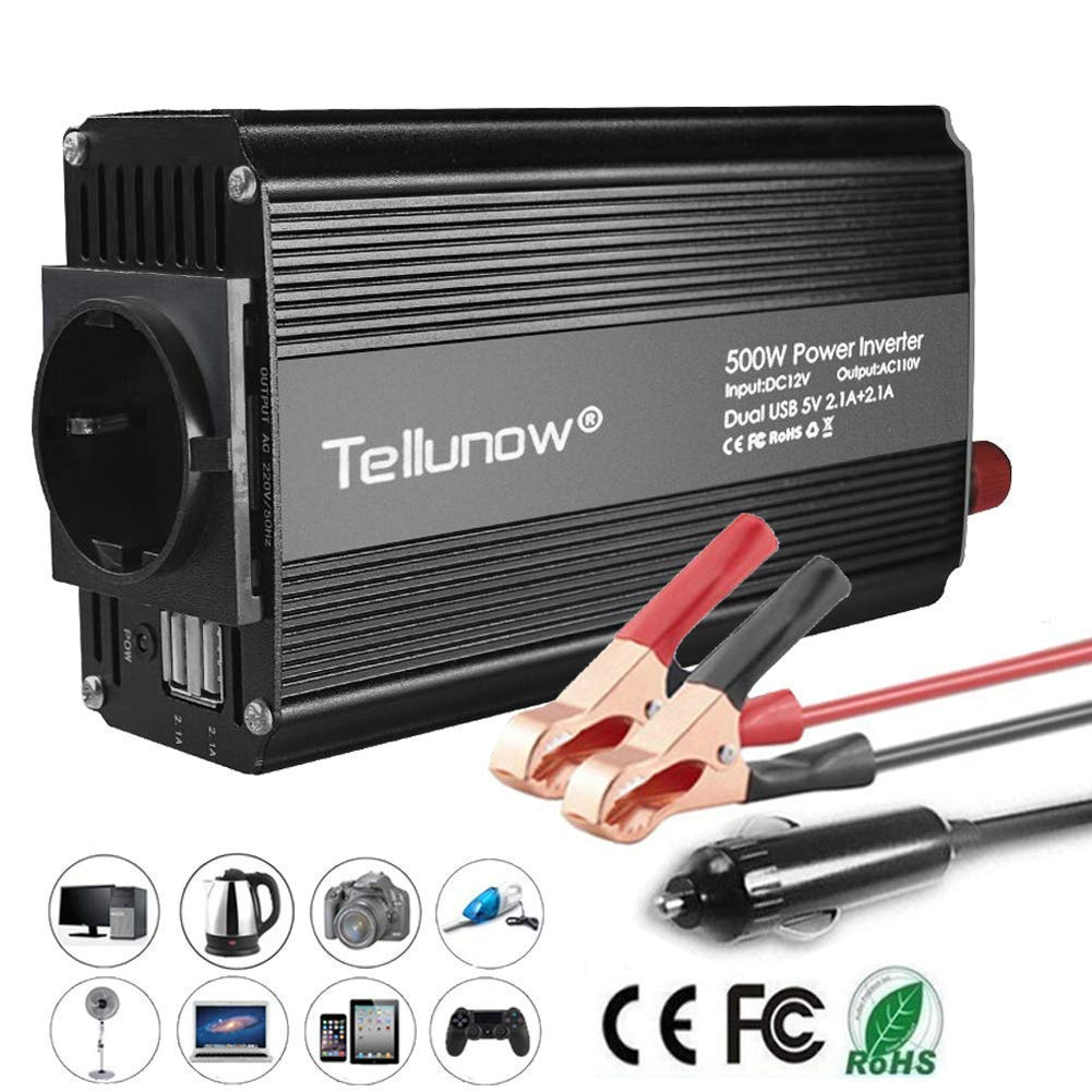Convertisseur, 500W Onduleur 12V 220V à 240V Transformateur de Tension pour Voiture, avec 4.2A Double USB Et 1 Sorties AC, Affichage LED pour Smartphones, Tablette, Ordinateur Portable, Nébuliseur Nébuliseur Tellunow
