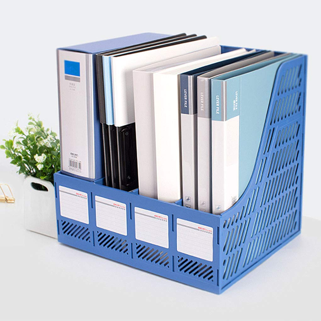 Organizer da scrivania in plastica robusta per portariviste e documenti KXF a 4 scomparti per scuola e ufficio Blue