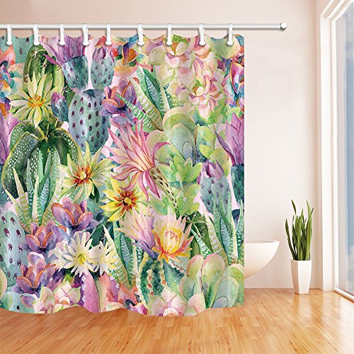 NYMB Watercolor Blooming Cactus Flowers Shower Curtain 69X70 inches Mildew Resistant Polyester Fabric Bathroom Fantastic Decorations Bath Curtains Hooks Included (Multi10)