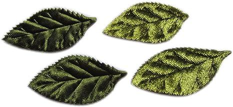 20pcs Green Crochet Leaves Handmade Appliques Embellishments Wedding Decor