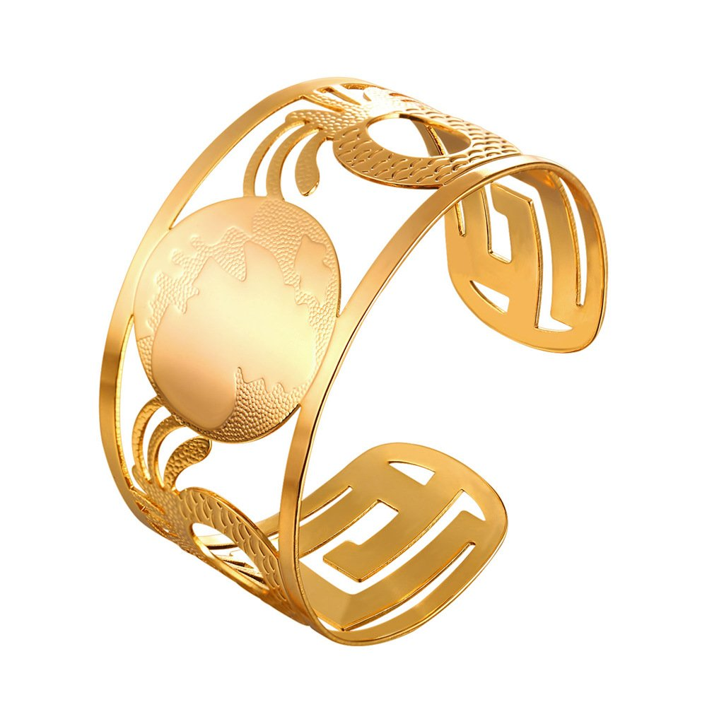 U7 Women Bangle Fashion 18K Gold Plated Africa Map Hollow Cuff Bracelet