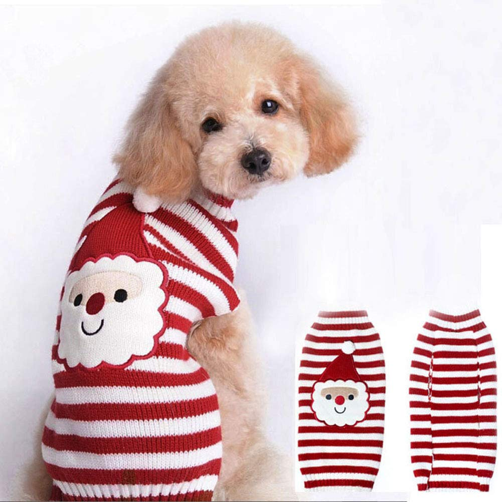 Smoro Rojo Lindo Mascota Cachorro Gato Perro cálido suéter Jersey Prendas de Punto Abrigo Ropa pequeño Perro Cachorro suéter Navidad Santa Claus Traje: ...