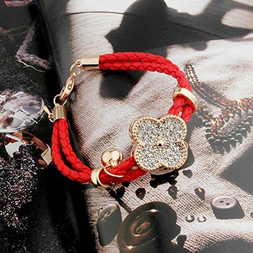 dulijun Bracelet corde rouge double cloche une chaîne de trèfle de quatre feuilles