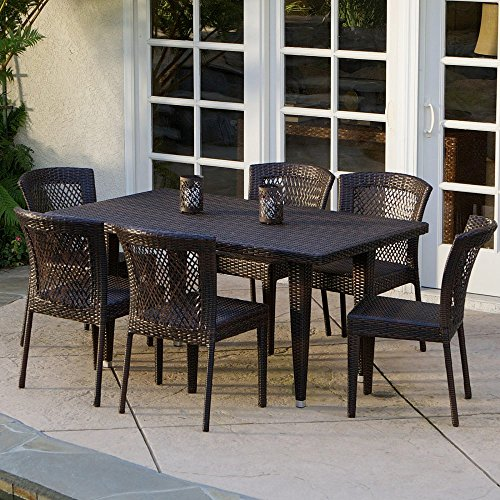 Dusk All-Weather Wicker Patio Dining Set - Seats 6 -  Christopher Knight Home, 235374