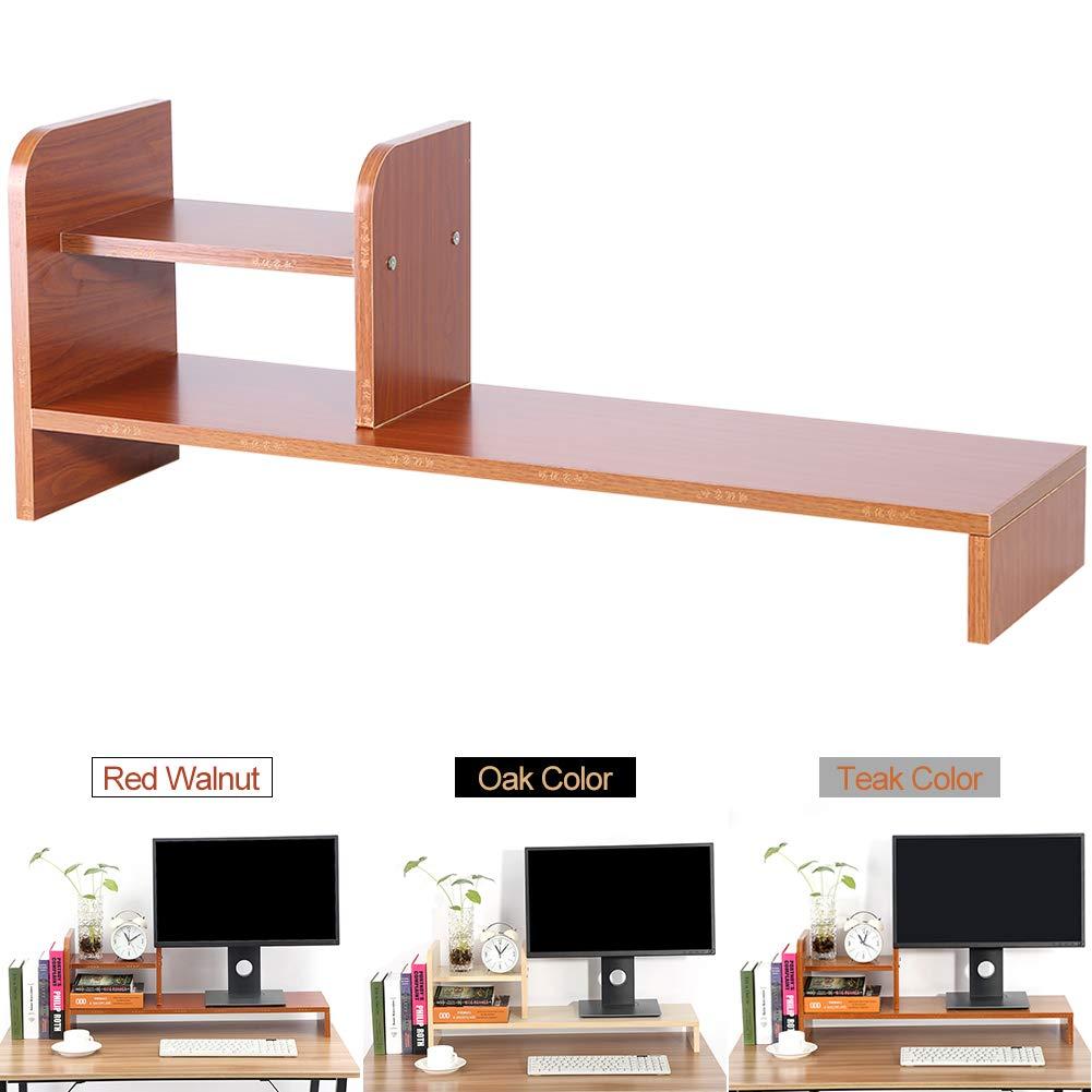 Computer Laptop Monitor Riser Stand Home Office Desktop Wooden Storage Organizer Shelf (Teak Color)