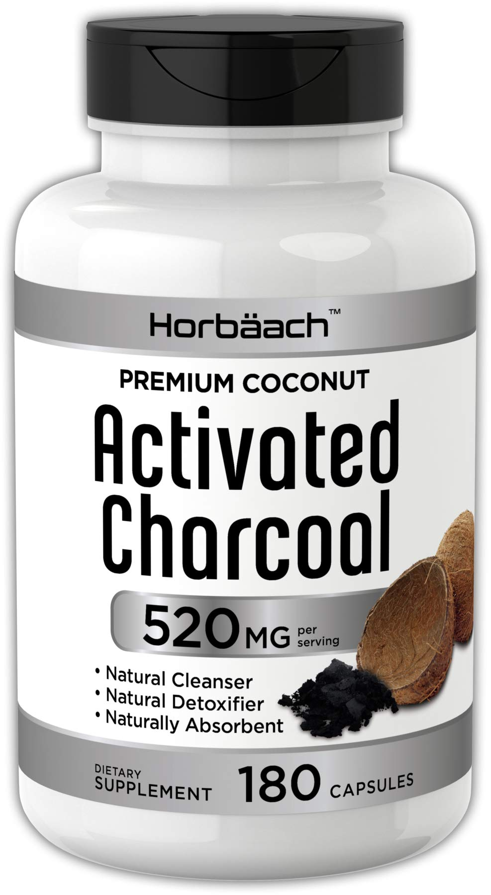 Horbaach Activated Charcoal 180 Capsules   from Coconut Shells   Non-GMO and Gluten Free Pills   Helps Bloating and Digestion