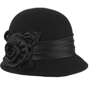 78b9a8ba8632c7 Winter Wool 1920s Flapper Elegant Floral Beading Cloche Hat (CL1489BLACK)