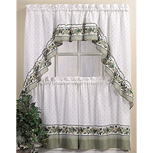CHF U0026 You Cottage Ivy Country Curtain Tier And Swag Set, Multi, 56 Inch X  36 Inch