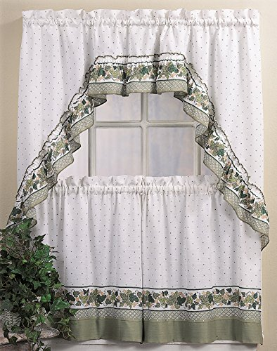 CHF & You Cottage Ivy Country Curtain Tier And Swag Set, Multi, 56-Inch X (Ivy Curtain)