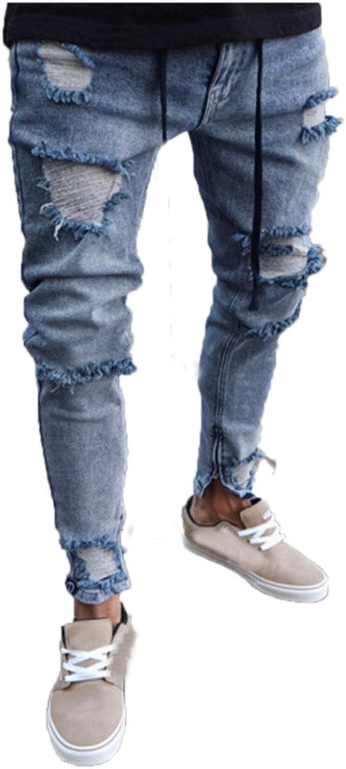 jeans da uomo strappati slim fit a vita bassa tg 48 50 52 Pantaloni denim cotone