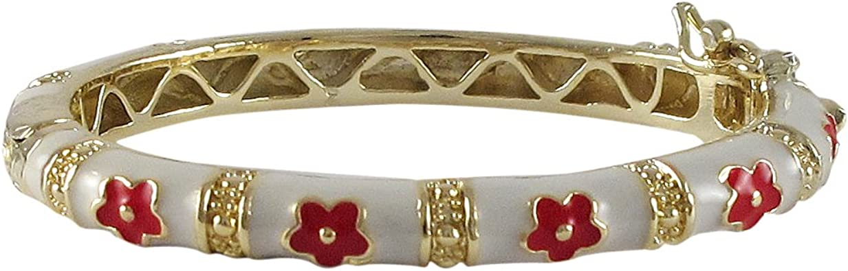 Ivy and Max Gold Finish Multi-Color Enamel Flower Girls Charm Bracelet