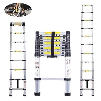 3.2M//10.5FT Telescopic Telescoping Loft Ladder Aluminium Attic Ladder Extendable,Max Load 150kg EN131 Standard