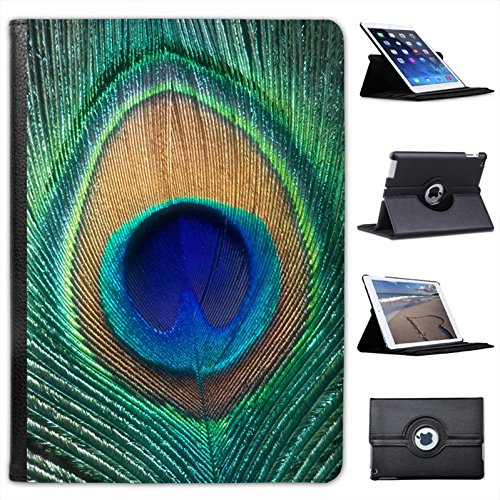 Peacock Feather For Apple iPad Air 2 [2014 Version] Faux Leather Folio Presenter Case Cover Bag with Stand (136 Peacock)