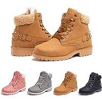 Botas Mujer Invierno Nieve de Cuero PU Zapatos Planas Calentar Piel Forro Cordones Botas Senderismo Snow Boots Outdoor…