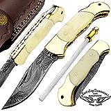Cheap Camel Bone 7.5″ Custom Hand Made Damascus Steel Folding Pocket Knife Brass Double Bloster Back Lock 100% Prime Quality