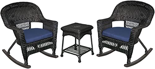 Jeco 3 Piece Rocker Wicker Chair Set With Blue Cushion, Black