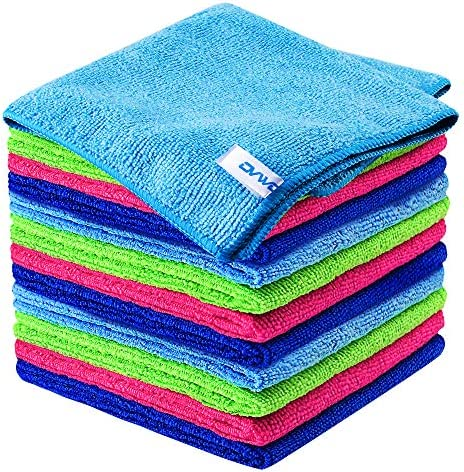 12Pcs Premium Microfiber Cleaning Cloth by ovwo – Highly Absorbent, Lint Free, Scratch Free, Reusable Cleaning Supplies – for Kitchen Towels, Dish Cloths, Dust Rag, Cleaning Rags in Household Cleaning