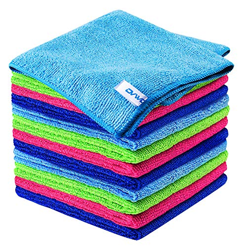12Pcs Premium Microfiber Cleaning Cloth by ovwo – Highly Absorbent, Lint Free, Scratch Free, Reusable Cleaning Supplies…