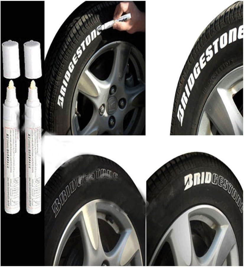 2pc White Paint Pen Marker Waterproof Permanent Car Tire Lettering Rubber Letter