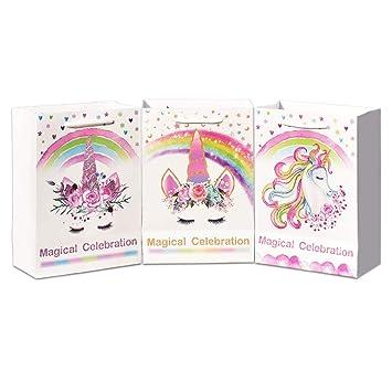 WERNNSAI Bolsos de Regalo Fiesta Unicornio - Artículos Suministros para Fiesta de Unicornio Mágico Bolsas Papel para Niños Chicas Cumpleaños Boda Baby ...