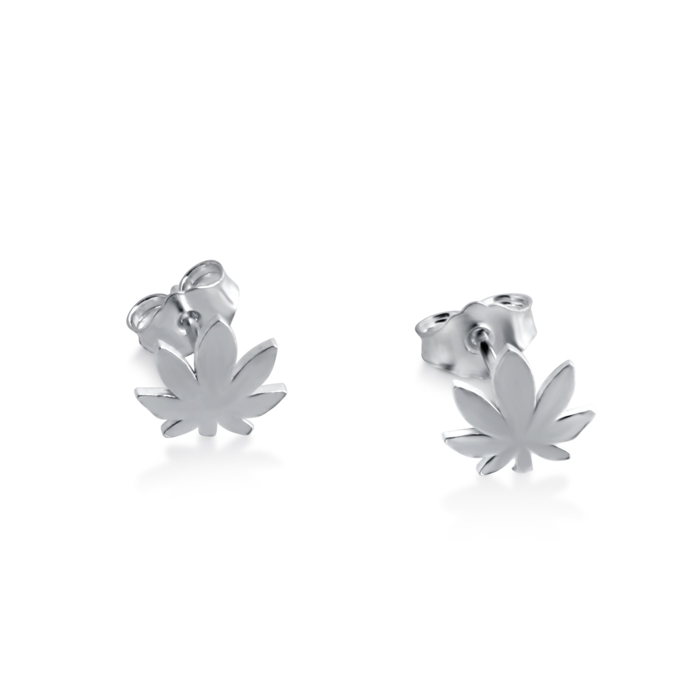 Azaggi Sterling Silver Handcrafted Cannabis Stud Earrings