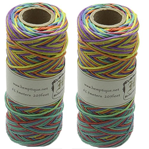 Hemp Cord Spool Variegated 20# 205 Feet/Pkg-Rainbow (Pack of 2) by Hemptique