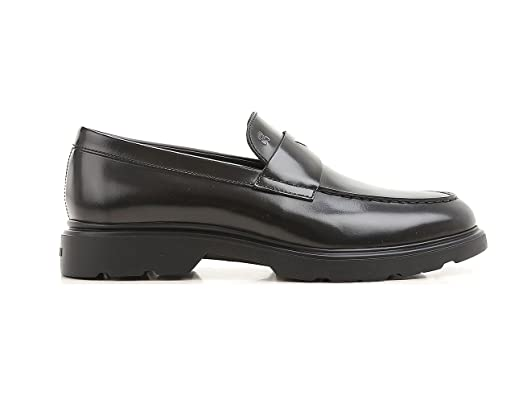 Loafers H304 New Route in Black Leather Mens.