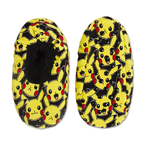 Pokemon Pikachu Silky Suede Babba Boys' Slipper Sock (S/M - Shoe Size 8-13) (Pokemon For Boys Shoes)
