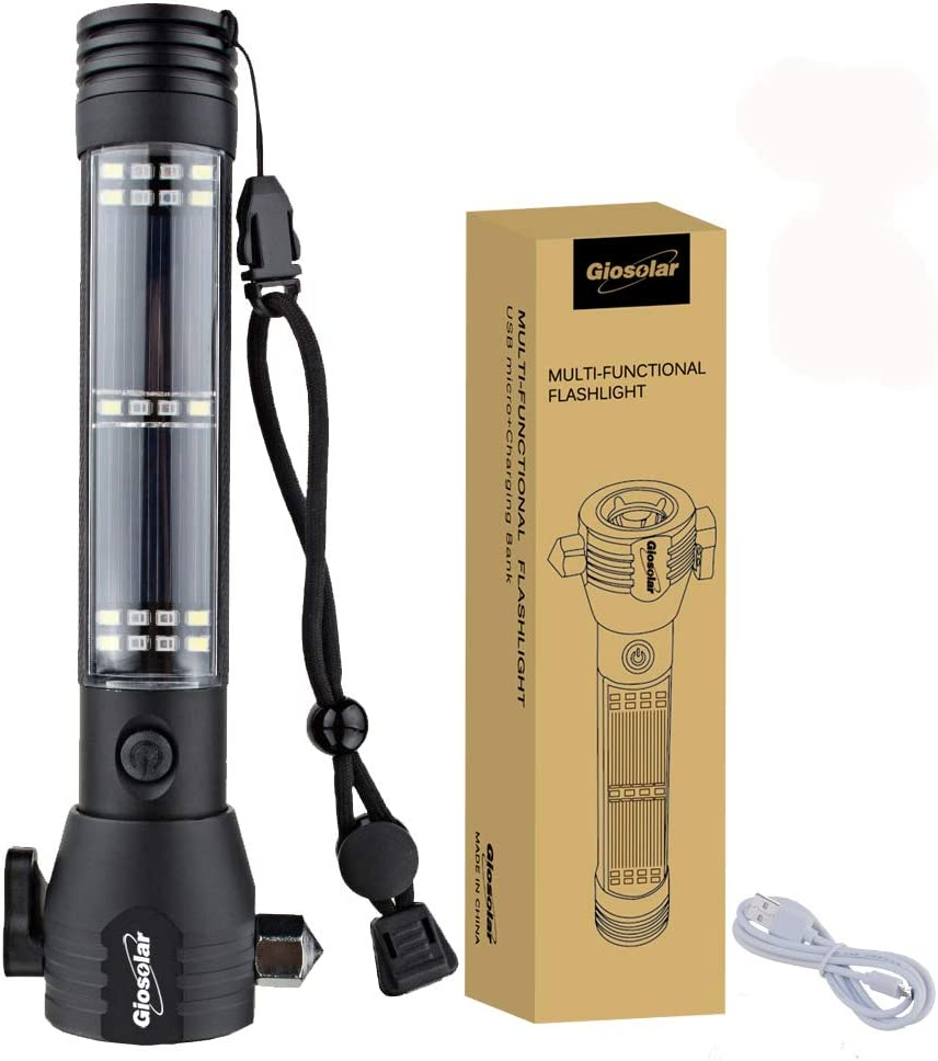 Giosolar multifuncional linterna recargable por USB Linterna funciona con energía solar linterna de mano resistente al agua al aire libre Camping Linternas con USB cable