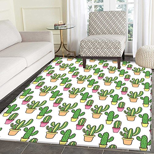 Cactus Print Area Mat Vases and Pots with Flowers Cute Cartoon Drawing Colorful Summer Plants Design Perfect for Any Room, Floor Carpet 4'x6' Peach Pink Green