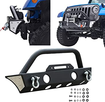 Texture Black  Front Bumper Fit 2007-2018 Jeep Wrangler JK  Winch Plate  D-rings