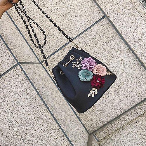 Drawstring Handbag Black Bag Bags Messenger Chain Bucket Domybest Women Shoulder XSOPxTq