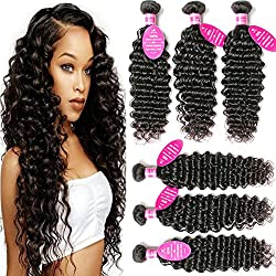 Younsolo 3 Bundles Deep Wave (12 14 16) Brazilian Virgin Hair 100% Unprocessed Human Hair Extensions No Shedding Natural Black Color Can Be Dyed and Bleached