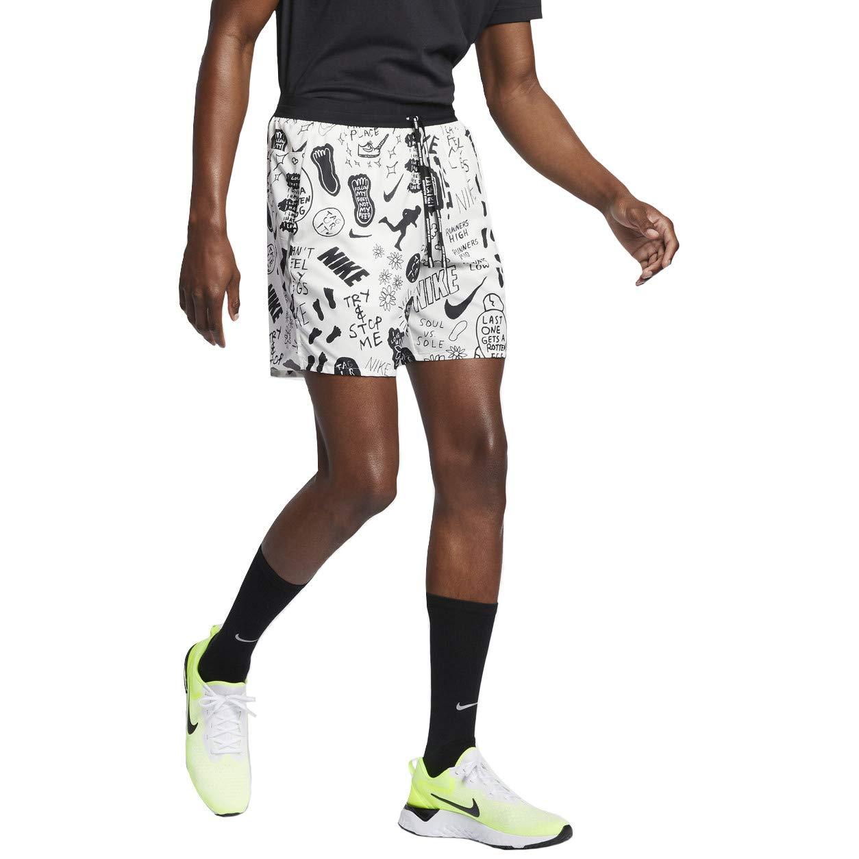 Nike Flex Stride Nathan Bell Men's 7'' Printed Running Shorts (Sail/Black/Metallic Silver, Medium)
