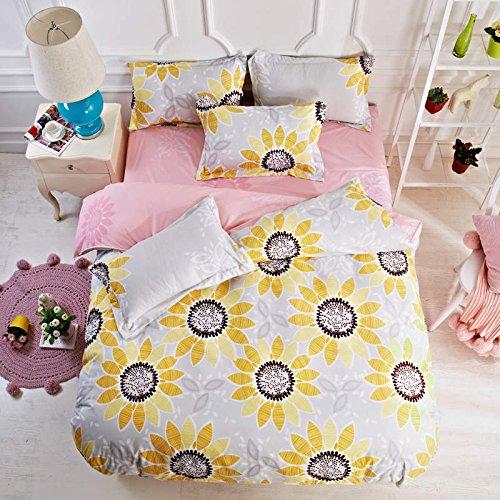 Queen Tina Polyester Fibre Kids Yellow Sunflower Duvet Cover Set Twin Size(1 Duvet Cover,1 Flat Sheet,2 Pillow Sham) ()
