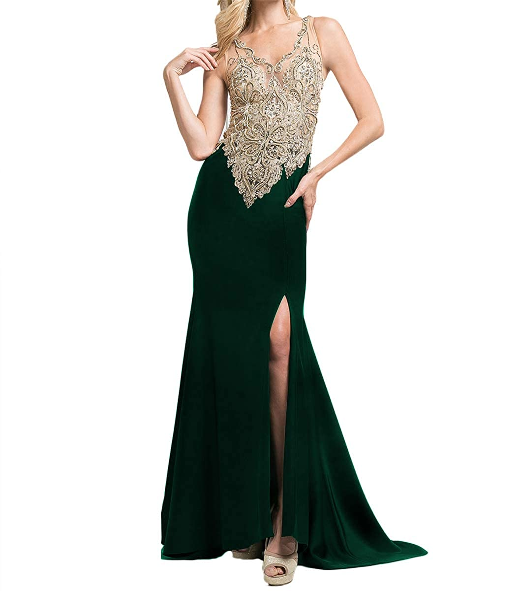 Emerald Green SDRESS Women's gold Lace Appliques V Neck Spit Side Formal Prom Homecoming Dress