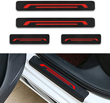 for Kia Forte Door Sill Protector Reflective 4D Carbon Fiber Sticker Door Entry Guard Door Sill Scuff Plate Stickers Auto Accessories 4Pcs White