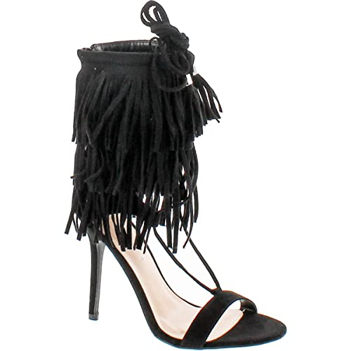 f4a6c35a003 Open Toe Layered Fringe Corset Tassel Lace Up Stiletto Heels