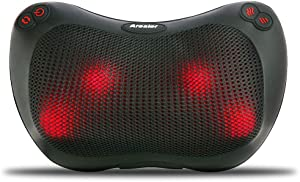 Arealer Back Massager Massage Pillow with Heat, Shiatsu and Deep Tissue Kneading for Shoulder, Lower Back and Muscle Pain Relief, Relaxation in Car Home and Office