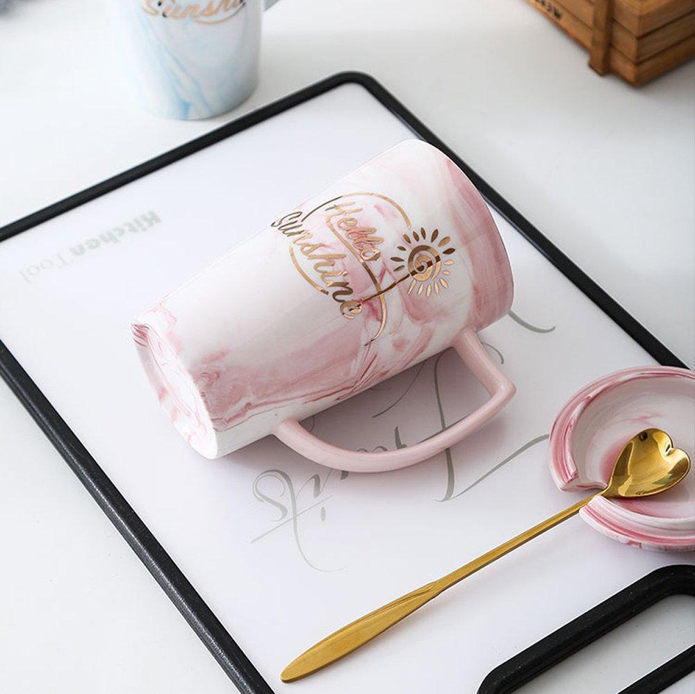 Pink flamingo Longpro Marble Ceramic Bone China Coffee Mug with Golden Spoon Nordic Style Coffee Mug Retro Royal Tea Mug Top-quality Morning Mug Milk Mug for Wedding Valentine Gifts